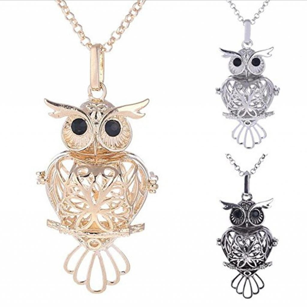 Owl Lava Stone Aromatherapy Essential Oil Diffuser Necklace